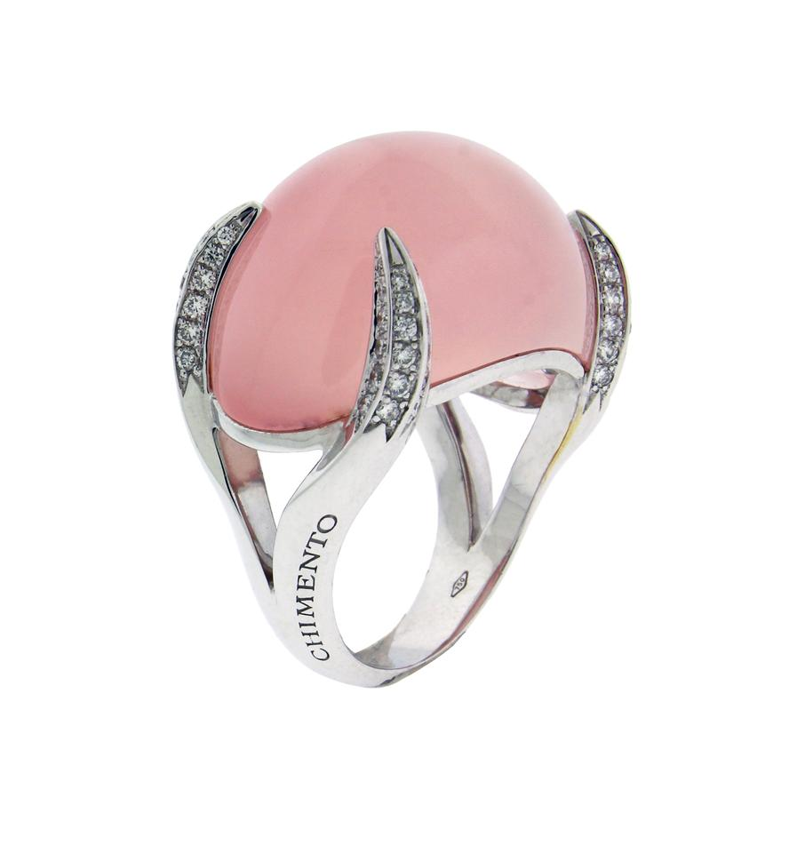 Chimento Elsir Pave Diamond & Rose Quartz In 18k White Gold. Ring ...