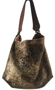 Tylie Malibu Crackled Leather Brown Tan Cream Purse Designer Large Big Hobo Bag