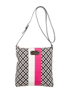 Kate Spade Leather Silver Hardware Print Canvas Cross Body Bag
