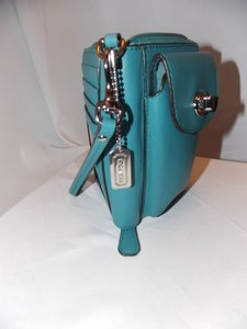 Coach COACH 'Cambell Wallet' ~ Teal! ~ Nickel! ~ W/Original Keychain and Ha
