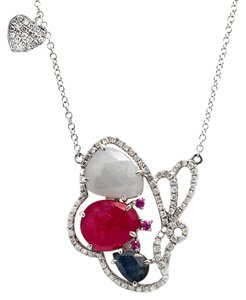 Luxo Jewelry Multicolor Sliced Sapphires & Diamonds 14K Gold Butterfly Necklace