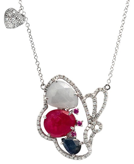Preload https://img-static.tradesy.com/item/21381163/multicolor-sliced-sapphires-and-diamonds-14k-gold-butterfly-necklace-0-3-540-540.jpg
