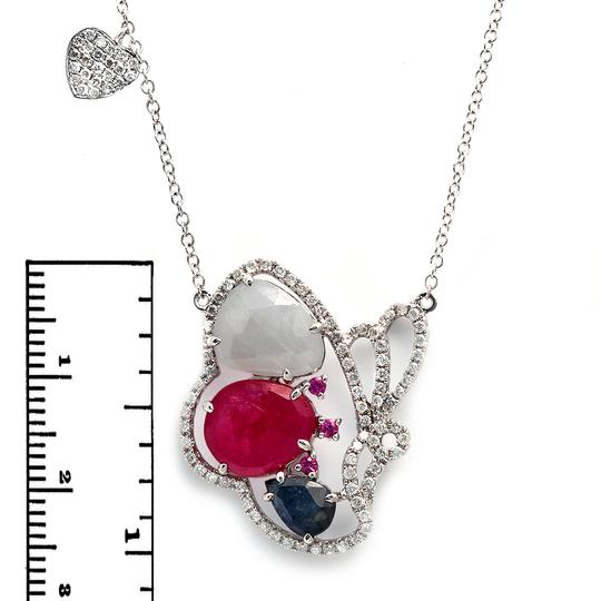 Luxo Jewelry Multicolor Sliced Sapphires & Diamonds 14K Gold Butterfly Necklace Image 2