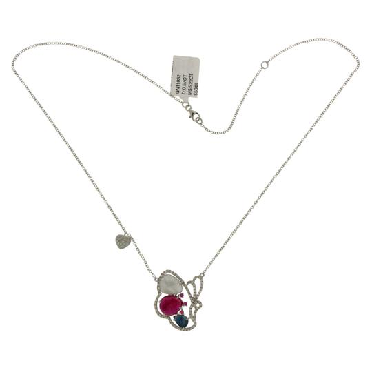 Luxo Jewelry Multicolor Sliced Sapphires & Diamonds 14K Gold Butterfly Necklace Image 3