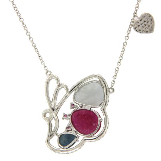 Luxo Jewelry Multicolor Sliced Sapphires & Diamonds 14K Gold Butterfly Necklace Image 4