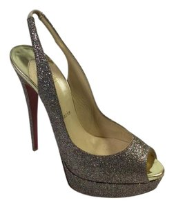 Christian Louboutin Slingback Platform Red Bottom Red Sole Silver Glitter Pumps