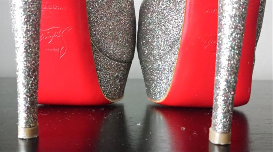 christian louboutin men shoes sale - Christian Louboutin Lady Peep 150 Silver Glitter Pumps on Sale, 35 ...
