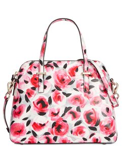 Kate Spade Maise Crosshatched Fabric Satchel in Posy Red Multi