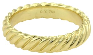 David Yurman 18k Yellow Gold 5mm Wide Cable Band Ring Size 10