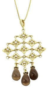 David Yurman Diamonds & Smokey Topaz Trefoil Cascade Pendant 18k Gold Necklace