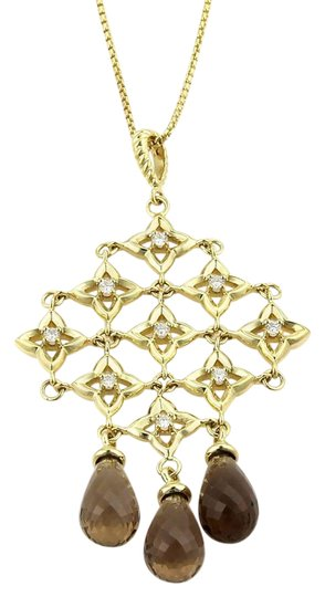 David Yurman Diamonds & Smokey Topaz Trefoil Cascade Pendant 18k Gold Necklace Image 0