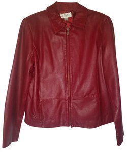 Casual Corner Business Stylish Red Leather Jacket