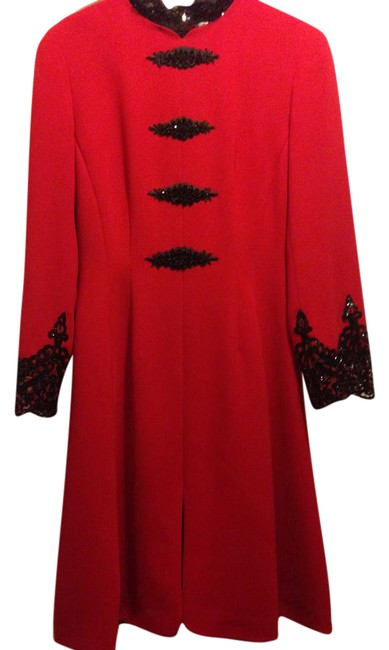Item - Red/Black Evening Mid-length Night Out Dress Size 6 (S)