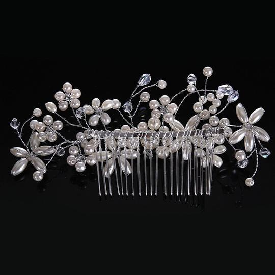 Whiteflower Silver Called Vintage Romantic Tiara Comb Diamond Sterling Silver Hair Accessory Image 3