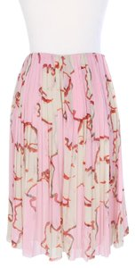 Chanel Silk Pleated Skirt Pink