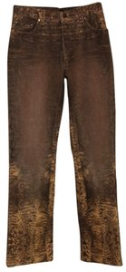 Roberto Cavalli Printed Denim Couture Boot Cut Jeans-Distressed