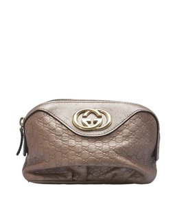 Gucci Cosmetic Leather Tan Clutch