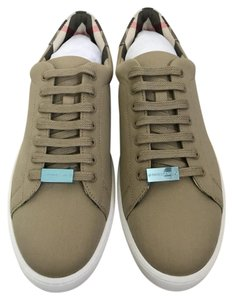 Burberry Canvas Lace Up Sneaker Check Beige Athletic