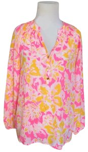 Lilly Pulitzer Casual Floral Silk Longsleeve Ruffle Top multi-color