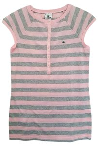 Lacoste Striped Polo T Shirt Gray & Pink