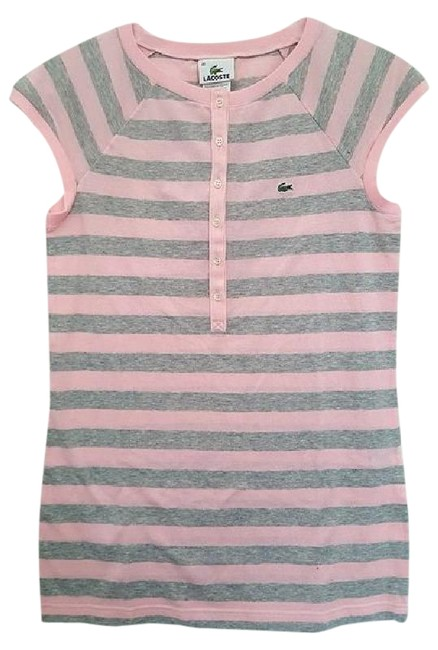 Lacoste Striped Polo T Shirt Gray & Pink Image 0