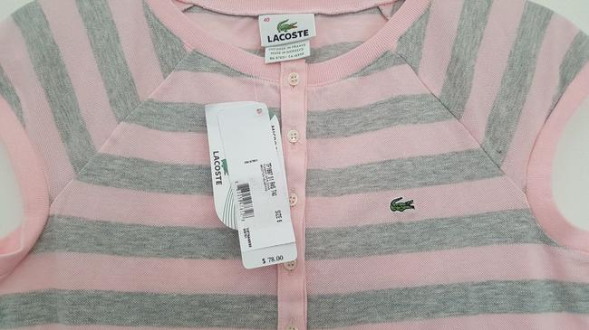 Lacoste Striped Polo T Shirt Gray & Pink Image 1
