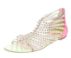 Christian Louboutin Spike Cage Millaclou Gold Hardware Strappy White, Pink Sandals