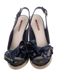 Prada Navy Blue Wedges
