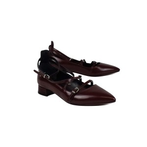 Marella Leather Pointed Burgundy Flats