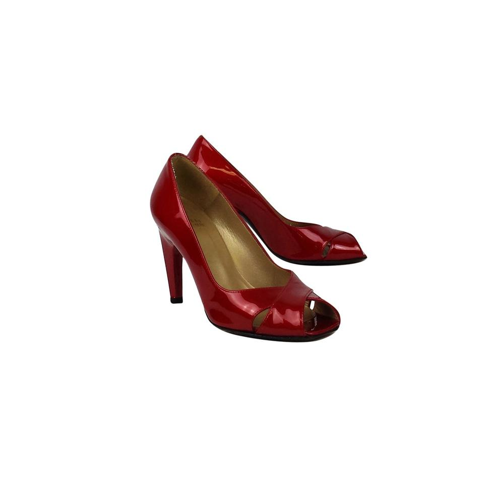 a377c877ac39 Stuart Weitzman Red Patent Leather Peep-toe Pumps Size US 5.5 ...