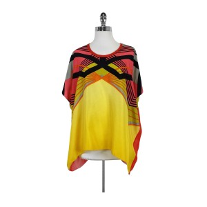 Nicole Miller Yellow Printed Over Sized Top