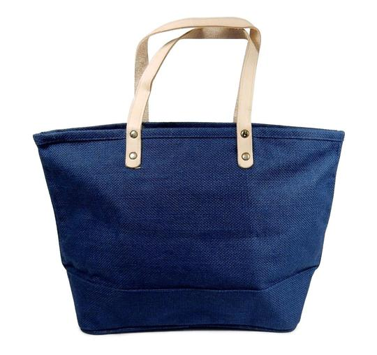 Preload https://img-static.tradesy.com/item/21382701/with-leather-handles-burlap-purse-handbag-navy-blue-jute-tote-0-0-540-540.jpg