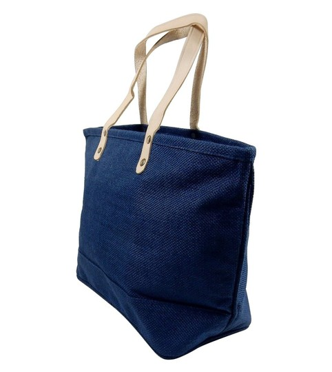 Prime Line Burlap Purse Tote in Navy Blue Image 1