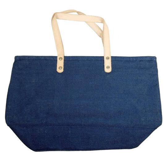 Prime Line Burlap Purse Tote in Navy Blue Image 2