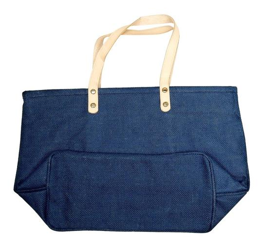 Prime Line Burlap Purse Tote in Navy Blue Image 3