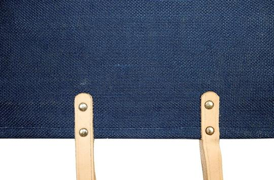Prime Line Burlap Purse Tote in Navy Blue Image 4