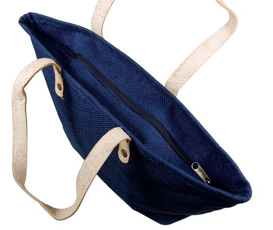 Prime Line Burlap Purse Tote in Navy Blue Image 8
