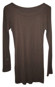 Express Boat Neck Basic Sexy Collection T Shirt Brown