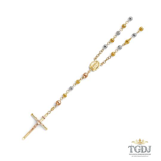 Top Gold & Diamond Jewelry 14K Yellow, White, Rose (Tri Color 5mm Puff Ball Rosary Necklace - 26
