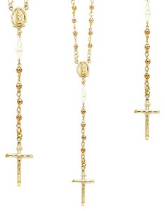 Top Gold & Diamond Jewelry 14K Yellow,White, Rose (Tri Color) 4mm Puff Ball Rosary Necklace - 26