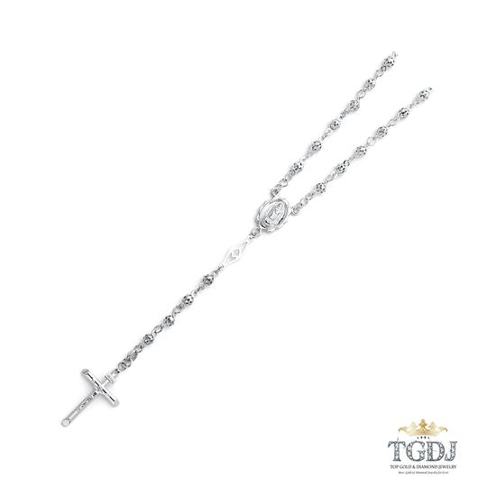 Top Gold & Diamond Jewelry 14K White Gold 4mm Puff Ball Rosary Necklace - 26