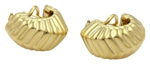 Tiffany & Co. Cordis 18k Yellow Gold Fancy Grooved Design Huggie Earrings