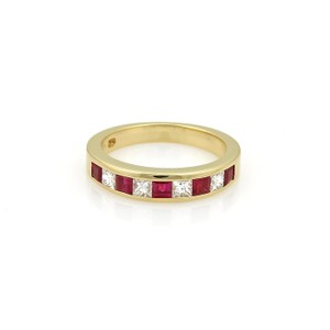 Tiffany & Co. Diamond & Ruby 18k Yellow Gold Stack Band Ring Size - 5.5