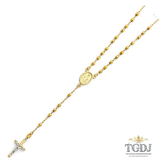 Top Gold & Diamond Jewelry 14K Yellow Gold 3mm Ball Rosary Necklace - 18