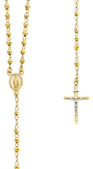 Top Gold & Diamond Jewelry 14K Yellow Gold 4mm Beads Ball Rosary Necklace - 20