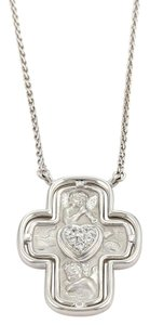 Carrera y Carrera Diamond 18k White Gold Ronda Angel Cross Pendant Necklace w/Card