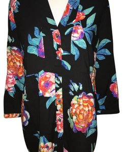 Anthropologie By Maeve Top black with bright flower design
