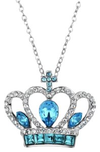 Other Handmade With Swarovski Crystals Blue Silver Princess Crown Necklace DF101