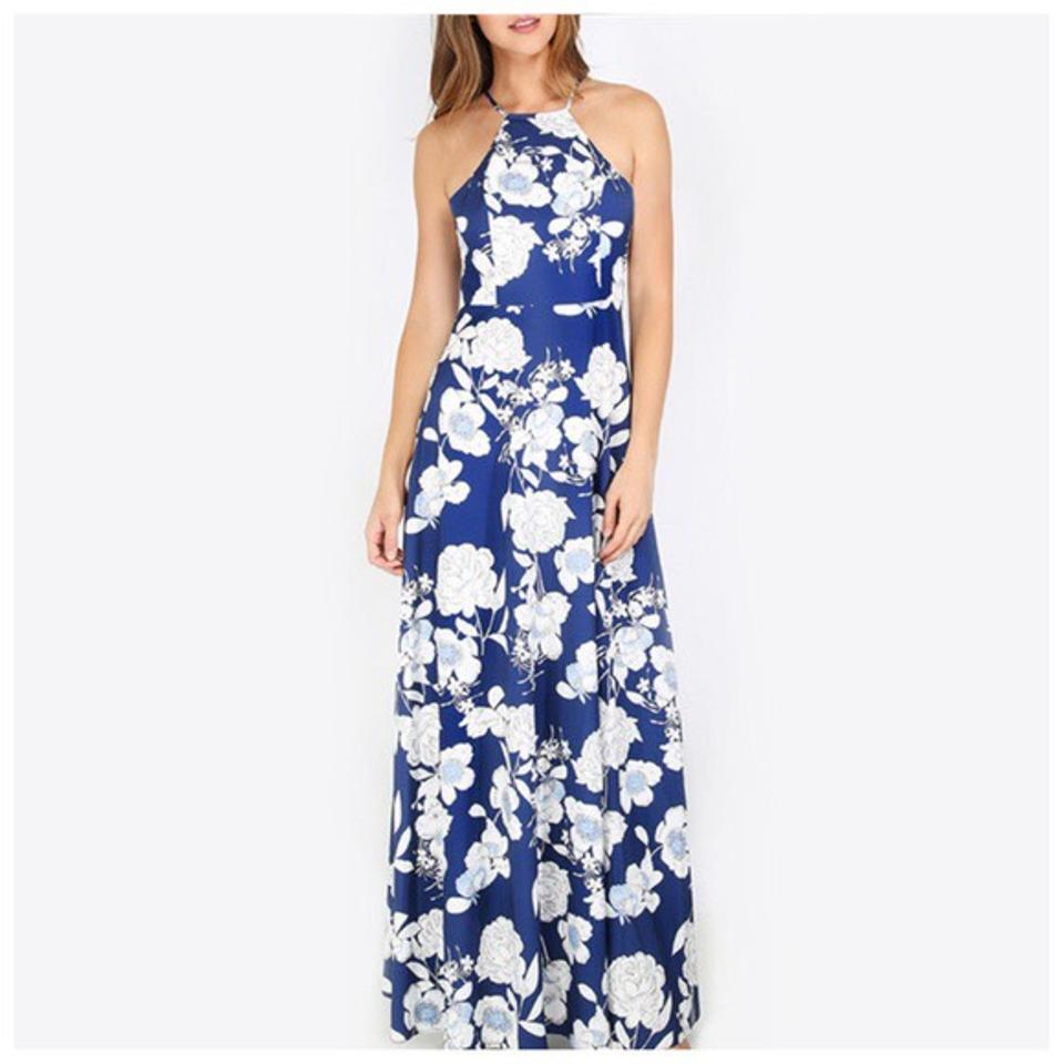 Blue white tropical flower halter long casual maxi dress size 8 m blue white maxi dress by other 123456 izmirmasajfo