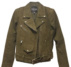 VEDA olive green Leather Jacket
